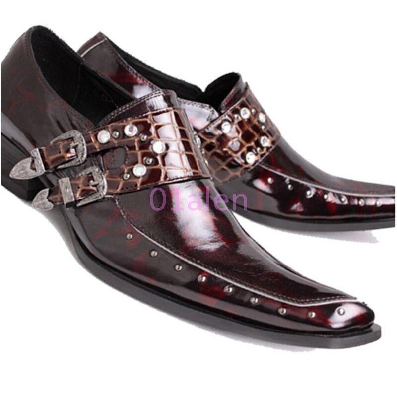 HOT Mens Rivet Buckles Pointy Toe Dress Formal Crack shoes Croco Slip on Leather