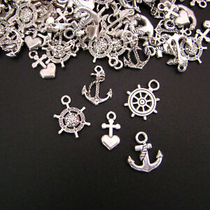 50-Pendant-silver-coloured-Jewelry-Pendant-Anchor-Steering-Wheel-Mix-p00505x7