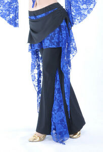New-belly-dance-costume-Flank-Openings-Lace-Trousers-pants-11-colors