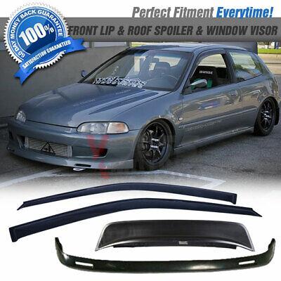 1993 1994 bys Style PU Black Front Lip Spoiler Splitter by IKON MOTORSPORTS Front Bumper Lip Fits 1992-1995 HONDA CIVIC 2 /& 3 DOOR COUPE /& HATCHBACK
