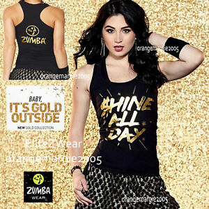 ZUMBA-Shine-All-Day-Racerback-Top-Tee-Shirt-GOLD-FOIL-METALLIC-Yum-S-M-L-XL-XXL