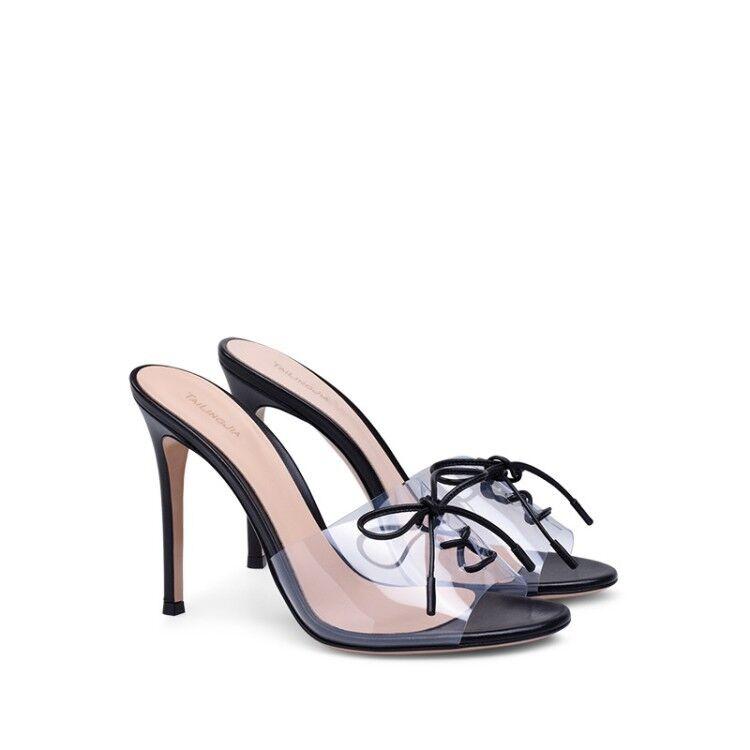 Womens Open Toe Transparent PVC High Heel Slipper Stilettos Mules shoes Sandals