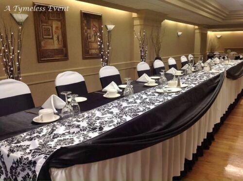 25 Black White Flocked Taffeta Damask Table Top Runners Wedding Flocking Velvet