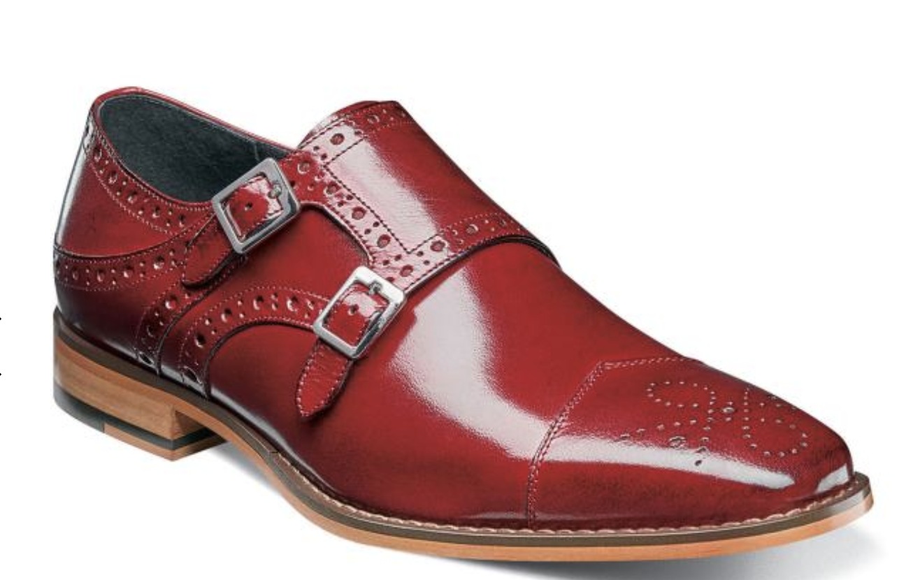 Stacy Adams shoes Tayton Double Monk Strap Red Medallion Toe 25194-600