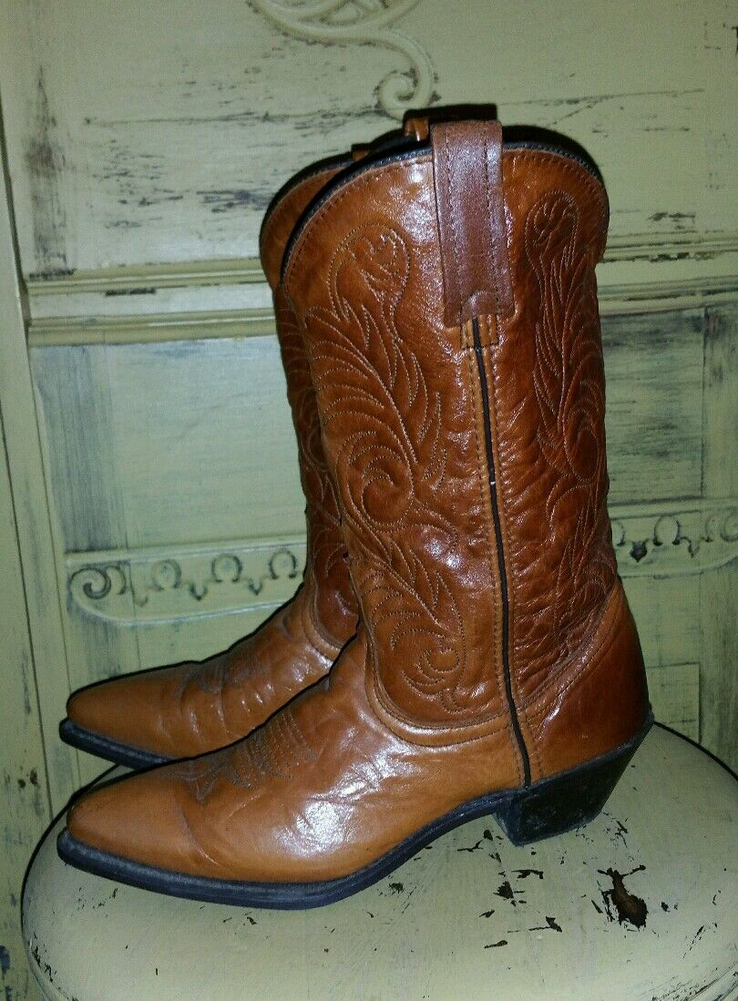 VINTAGE ACME LADIES WESTERN COWBOY BOOTS GYPSY BROWN 7 M POINTED TOE UNIQUE