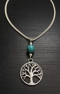 Silver-Tone-Tree-Of-Life-Pendent-Necklace-With-Turquoise-Bead-Great-Gift