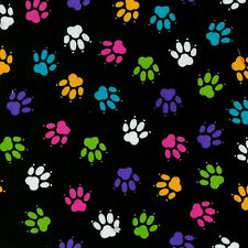 Fabric #2463 Cat Paws, Bright Multi-Color on Black, Blank, Sold by 1/2 Yard