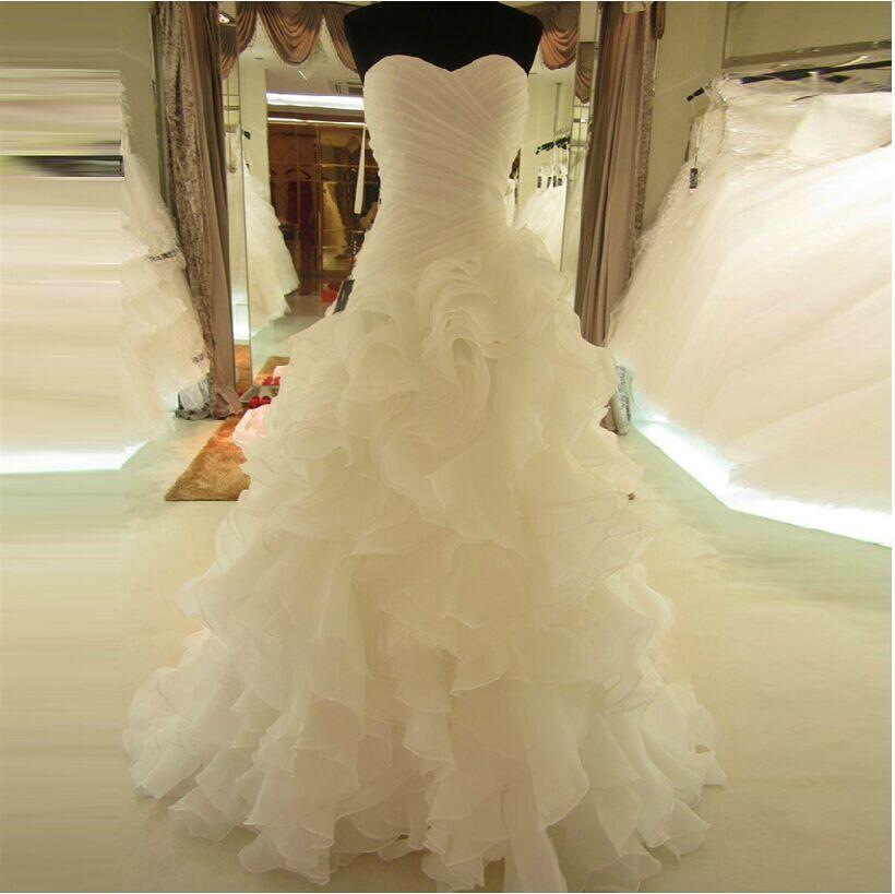 Sleeveless Wedding Dresses Ruffled Bridal Gowns Custom Size 0 2 4 6 8 10 12 14