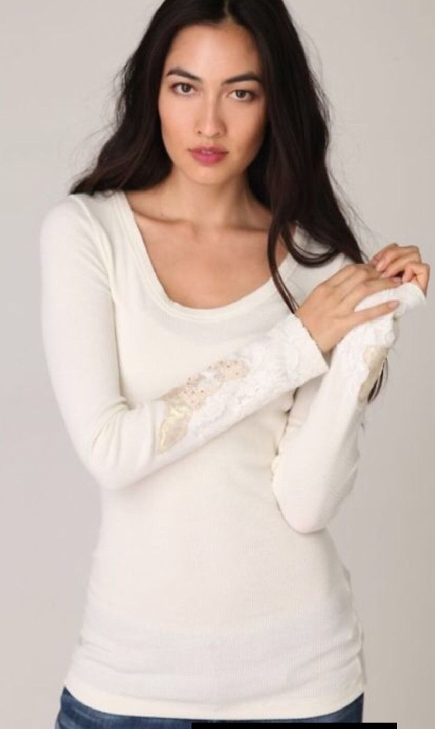 Free People Heart On Your Sleeve Ivory Embellished Cuff Thermal Top Shirt L Rare