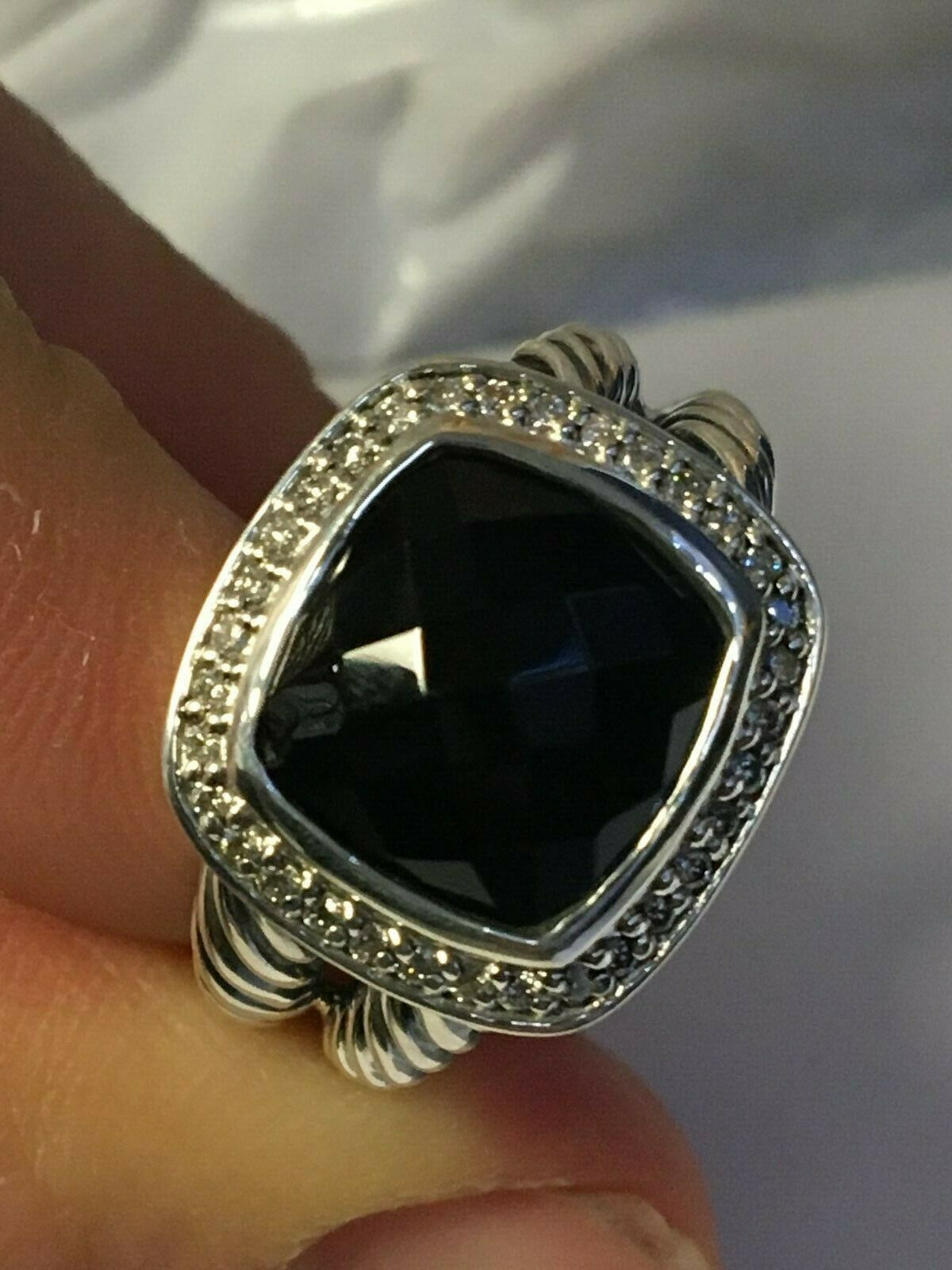 Pre Owned DAVID YURMAN ALBION 11MM Onyx   DIAMOND RING  SIZE 7