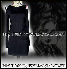 Kate Moss Topshop Charcoal Black Bondage Punk Emo Goth Wool Blend Dress UK 6 8