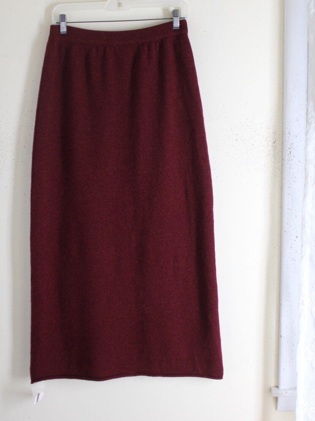 NWT Eskandar 1 Plush rot Multi-Ply 100% Cashmere Sweater Knit Long Full Skirt