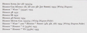 HUDSON Super Jet Wasp Hornet 6 & V8 1952-1955 data+wiring diagrams on field of grass in hudson, exotic car hudson, race cars diecast hudson, vintage automobile ads hudson, green art on the hudson,
