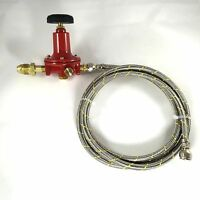 Adjustable 0 To 30psi Propane Regulator Pol 12ft Ss Braided Hose Lp Gas