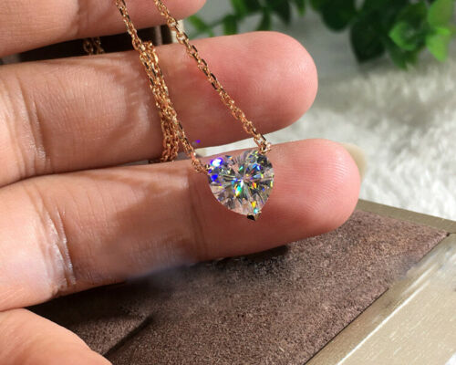Gorgeous 3ct Heart Cut White Sapphire Chain Pendant Necklace 18k Gold Jewelry