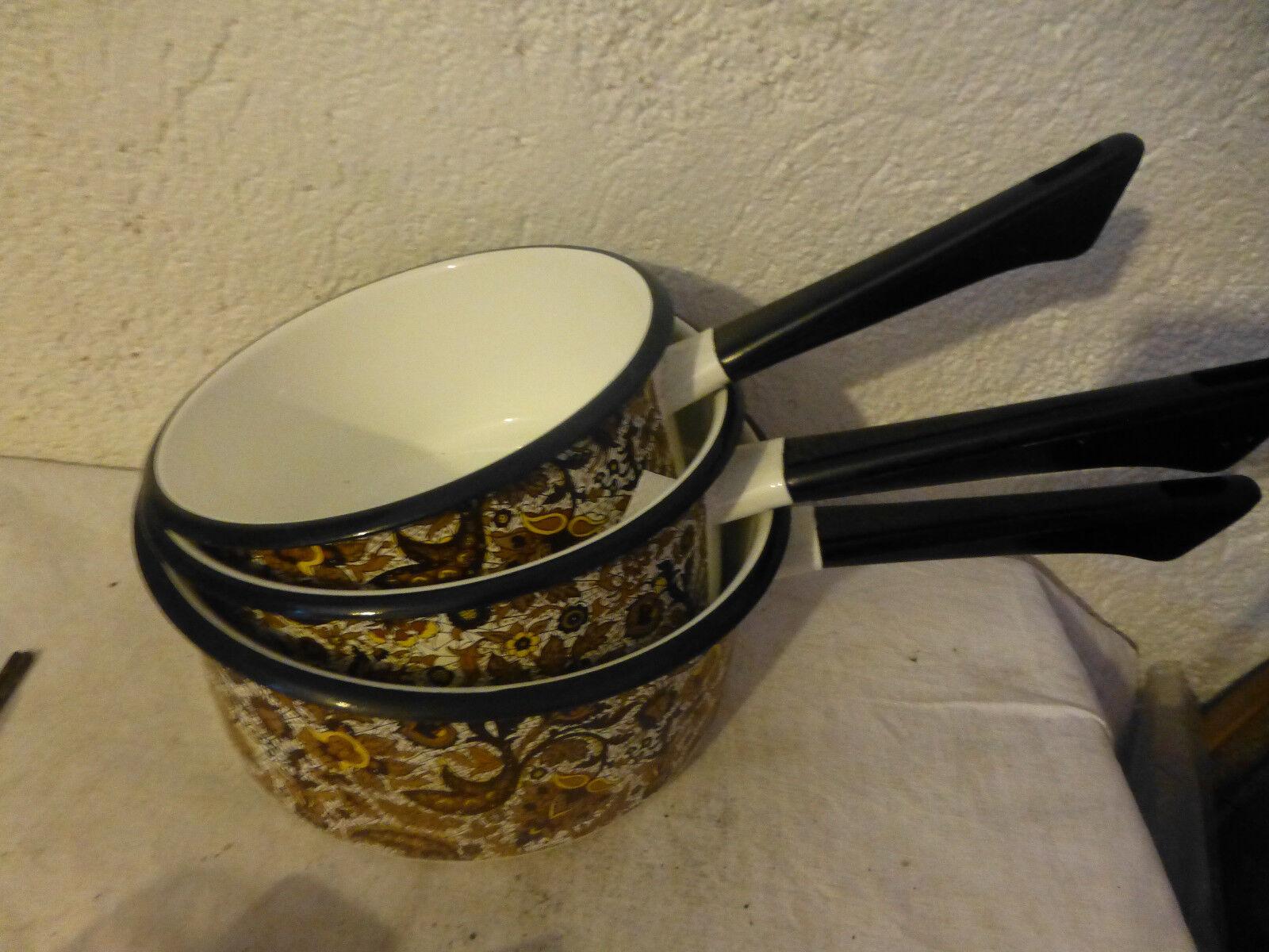 Lot 3 casseroles Japy emaille decoré annee 70 cuisine vintage french antique