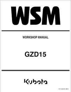 kubota gzd15 gzd15 ld gzd15 hd zero turn mower workshop manual rh ebay co uk Chamberlain Garage Door Opener Manual Store Workshop Manual