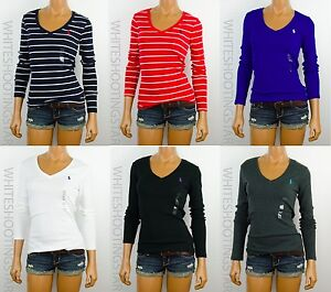 NWT-POLO-RALPH-LAUREN-WMNS-PONY-LONG-SLEEVE-FITTED-T-SHIRT-TOP-SIZE-XS-S-M-L-XL