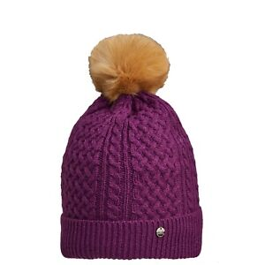 CMP-Beanie-Pom-Pom-Knitted-Hat-Purple-Pattern-Fleece-Lined-Insulating