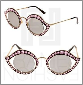 9639d6683fd GUCCI CRYSTAL LIPS Stud 0046 Gold Pink Silver Mirrored Metal ...