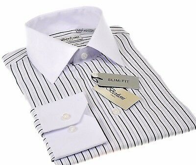 Berlioni slim fit Stripes fashion Dress shirt two tone French Convertible Black