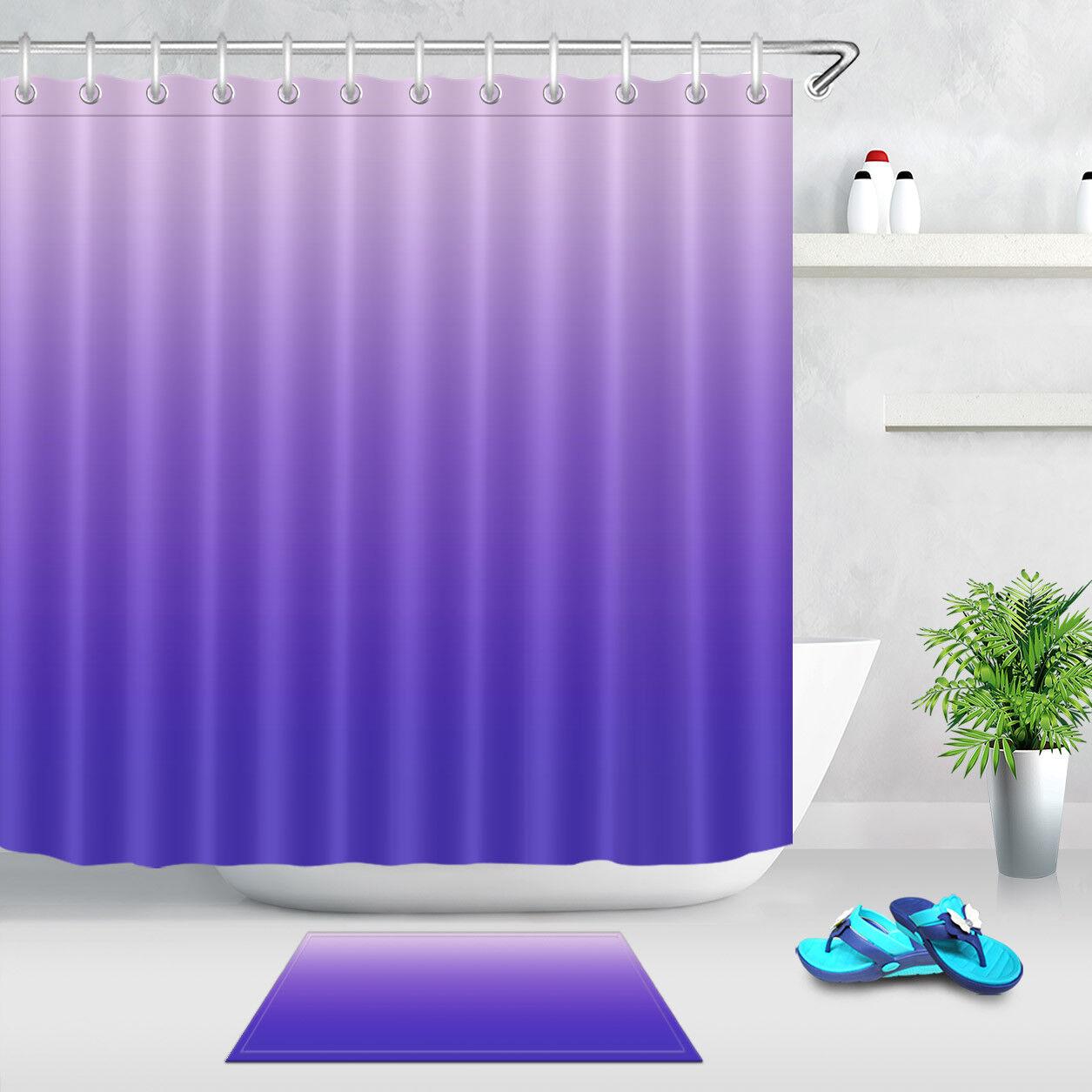 Gradient Purple Shower Curtain Set Bathroom Mat Waterproof