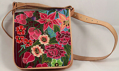 Mexican Purse Bag Leather Hand Embroidered Folk Art Collectible Expandable New