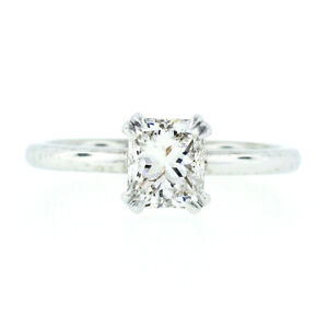 NEW Platinum GIA Certified 1.11ct Radiant Cut Diamond Solitaire Engagement Ring