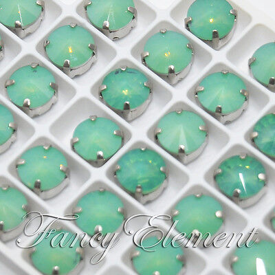 48pcs Glass Round 1122 10mm Pacific Opal Crystal Metal Setting Sew On Rhinestone