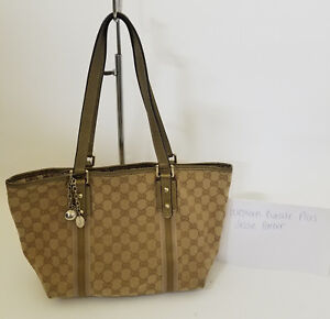 75f02ff23c4367 Image is loading Authentic-Gucci-GG-Brown-Beige-Monogram-Jolicoeur-Shoulder-