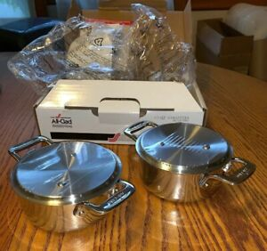 All-Clad-1-2-qt-Cocottes-Set-of-Two-Stainless-Steel-Pans-Gourmet-NEW