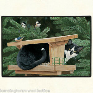 "DOOR MATS - ""CAT IN BIRD HOUSE"" DOOR MAT - CAT WELCOME MAT - CAT DOORMAT"