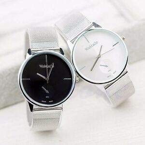 New-Fashion-Classic-Women-039-s-Men-Quartz-Analog-Stainless-Steel-Silver-Wrist-Watch