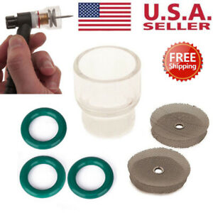 #12 Glass Pyrex Cups TIG Welding Torch Gas Lens For WP-9 WP-17 Tools 6PCS Kit