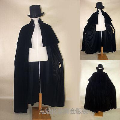 Halloween Vampire Gothic Victoria Black Cloak Cape Pleuche Retro Cosplay Costume