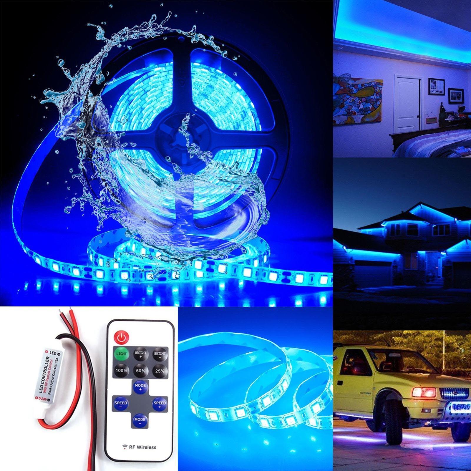 Wireless Waterproof LED Blue Strip Light 16FT For Boat Truck Car Suv Rv ATV US