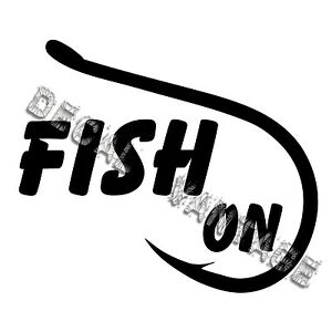 Fish-On-Hook-Vinyl-Sticker-Decal-Boat-Fishing-Outdoors-Choose-Size-amp-Color