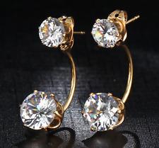 (jw012) Placcati in Oro Stile Vintage-Doppio Orecchini di cristallo-Stud