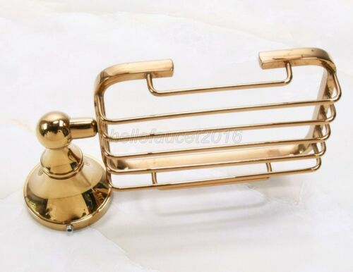 Bathroom Accessory Wall Mounted Luxury Polished Gold Brass Soap Dish Holder