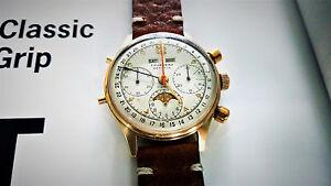 VERY-RARE-Watch-Tourneau-Datofix-14k-Gold-Triple-Date-Moon-Phase-Chronograph