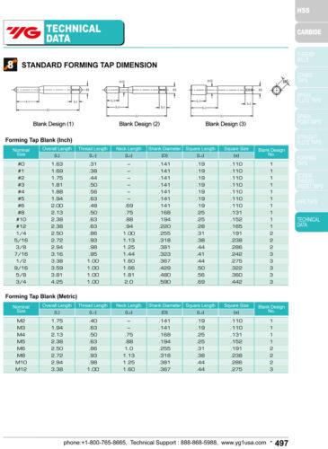 M6 x 1 D8 Thread Roll Form Bottom Tap 4 Lobe w//Oil Groove HSSE-V3