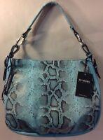Claudia Firenze Leather Blue Snake Print Shoulder Bag Purse Handbag Italy