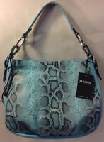 Claudia Firenze Leather Blue Snake Print Shoulder Bag Purse Handbag Italy