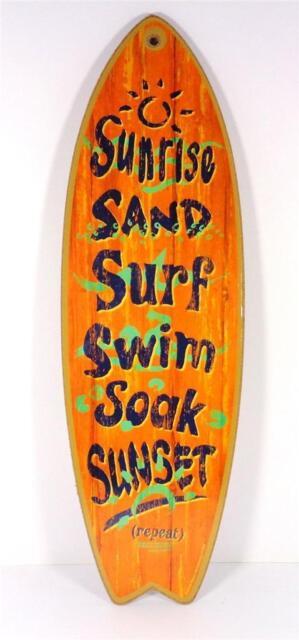 SUNRISE SAND SURF SWIM SOAK SUNSET SURFBOARD DECORATIVE BEACH BAR WALL SIGN