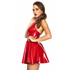 da Dress Red Sexy Lingerie Ggtboutique Halter Leather donna Peplum Faux Neck T4qUAwnzxg