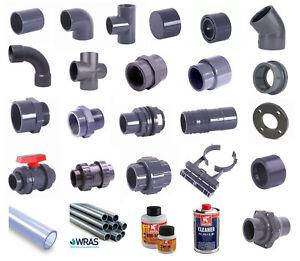 Metric-PVC-Pressure-Pipe-amp-Fittings-Grey-Solvent-Weld-Ponds-Aquariums-Pools
