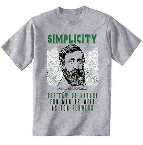 Henry David Thoreau Simplicity Quote New Cotton Grey Grey Tshirt