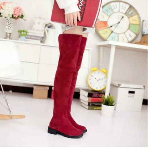 Details about  /Retro Womens Faux Suede Winter Causal Shoes Low Heel Ladies Over the Knee Boots