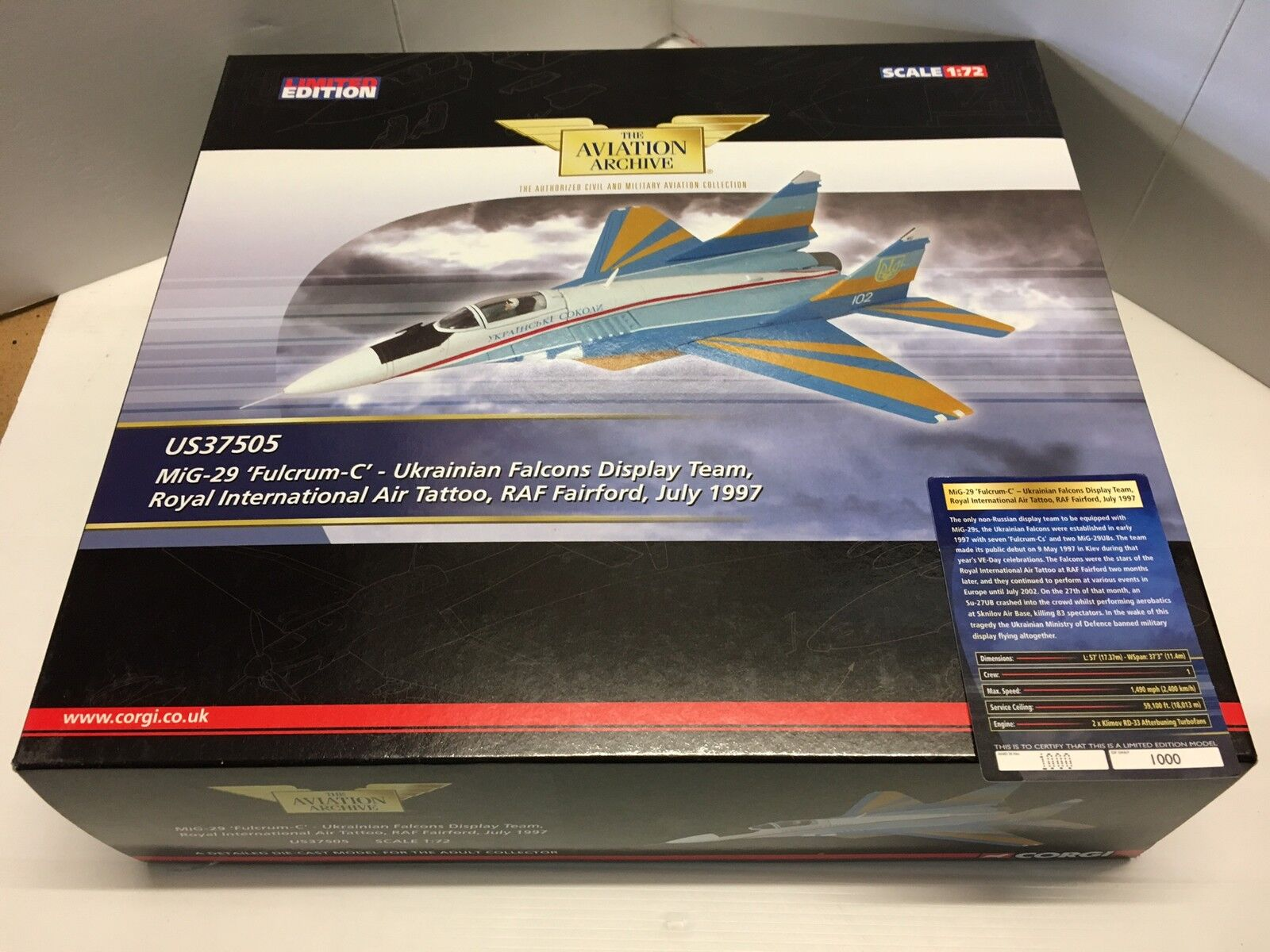 CORGI US37505 Ukrainian Falcons Display Team 1997 Ltd  Edition No.1000 de 1000  le dernier