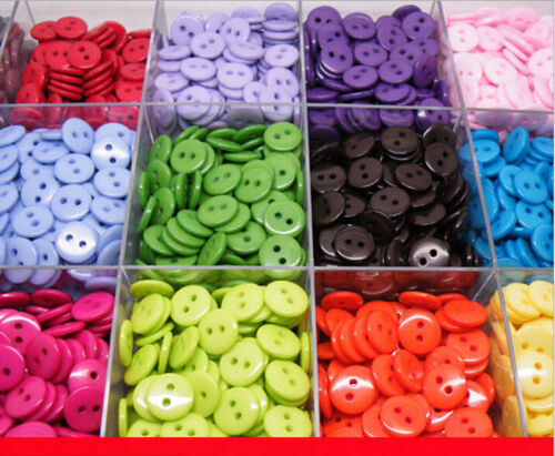 DIY 2 Holes Round Resin Buttons Scrapbooking Sewing Craft 11MM 20 Colors 100Pcs